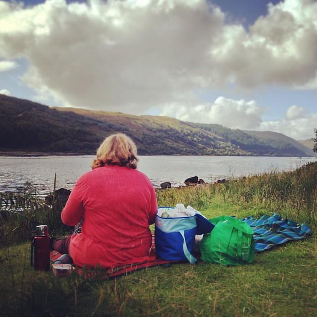 Picnic lunch, eastern end of Loch Sunart, Scottish Highlands #scotland #lochsunart #scottishhighlands #picnic #scottishscenery #sealoch