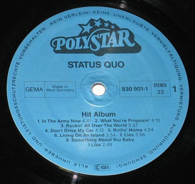 """Status Quo - Hit Album 12"""" vinyl LP"""