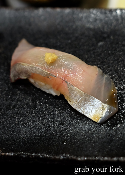 Silver trevally nigiri sushi at Hana Ju-Rin in Crows Nest Sydney