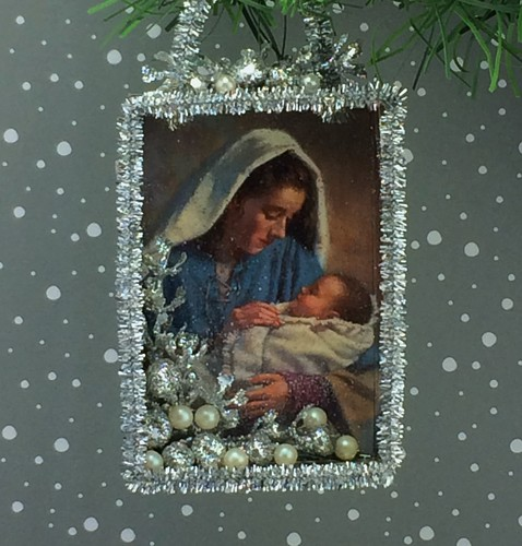Mary and Baby / Christmas card shadow box