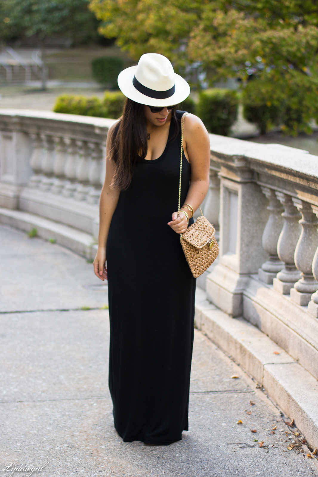 black maxi dress, panama hat, straw clutch-7.jpg