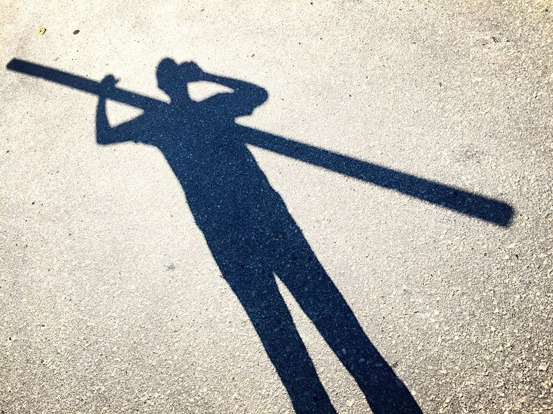 walking tall. carrying a big stick.