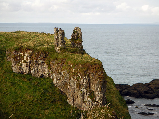 Dunseverick Castle ruins in Northern Ireland, UK