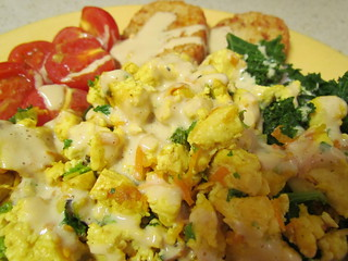 Breakfast Tofu Scramble; Three Nut Cheeze Whizz (From QFV)