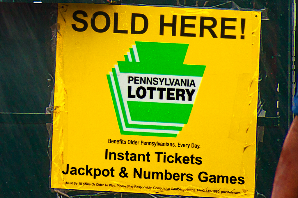 IF I COULD JUST WIN AGAIN and SOLD HERE PENNSYLVANIA LOTTERY--Italian Market (detail)