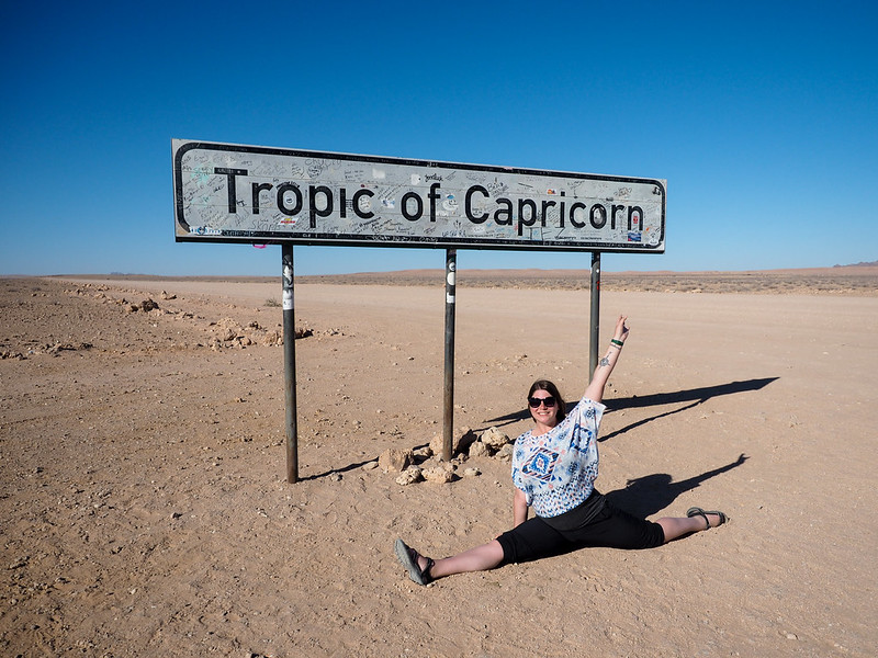 Amanda at the Tropic of Capricorn in Namibia