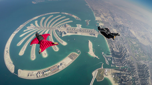 Wingsuit Flying over the Palm Islands Dubai