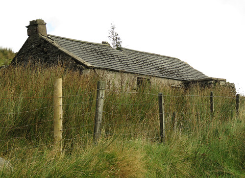 An abandoned crofter's cottage in the Antrim Glens, Ireland, UK