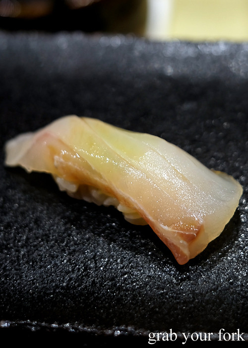 New Zealand king tarakihi nigiri sushi at Hana Ju-Rin in Crows Nest Sydney