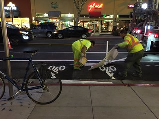 Painting Bike Parking Sign Lincoln Avenue San Jose CA, 11 August 2016