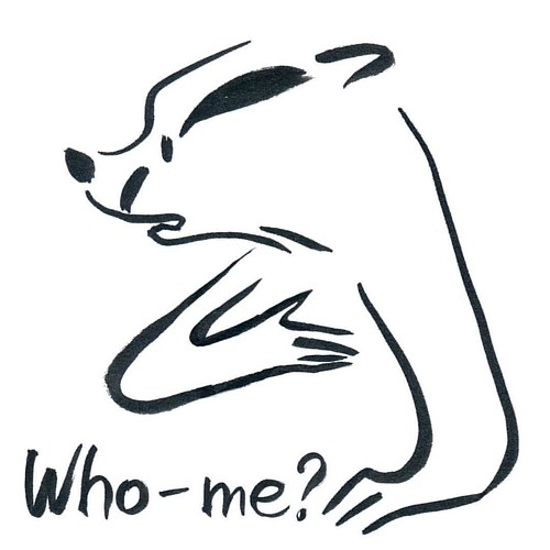 Day 5 of InkTober. I think I might make a t-shirt with this Badger. #badger #badgerlog #inktober #inktoberday5 #inktober2016 #parenting #whome #questions #tshirt #idea