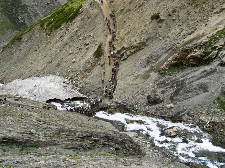 On the Way to Baltal during Amarnath Yatra 2016, Jammu and Kashmir, India