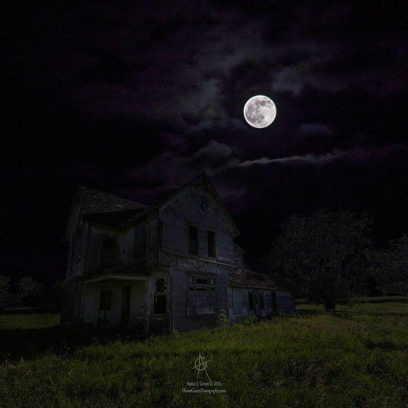 """Dark Embrace""  From a series of Dark Places by Aaron J. Groen  HomeGroenPhotography.com   #moon #fullmoon #DarkPlaces #GroenyView #TeamCanon #abandonedhouse #dark  #supernatural #ghost #darkness #forgotten"