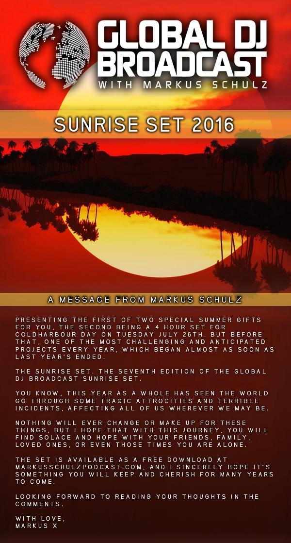 Markus Schulz - Global DJ Broadcast Sunrise Set 2016 [Trance, Progressive]