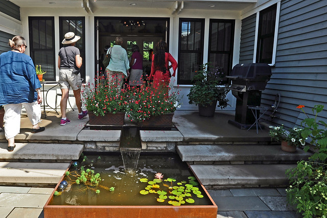 back porch and pond at Hayes house