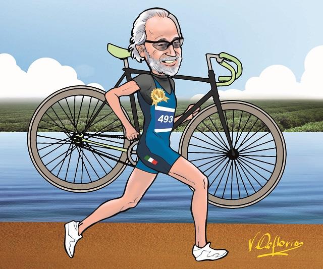 Noicattaro. Vignetta Andrea Latrofa campione di Italia di triathlon intero