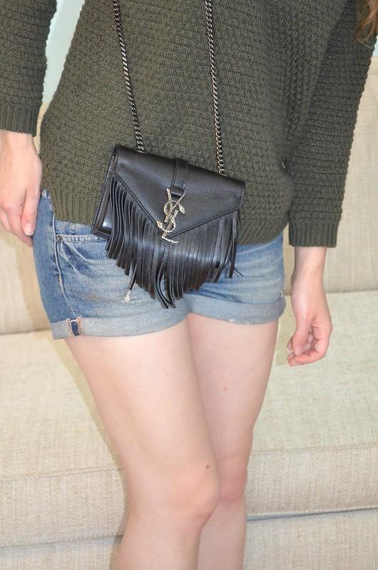 Forever 21 khaki jumper and YSL designer bag 3