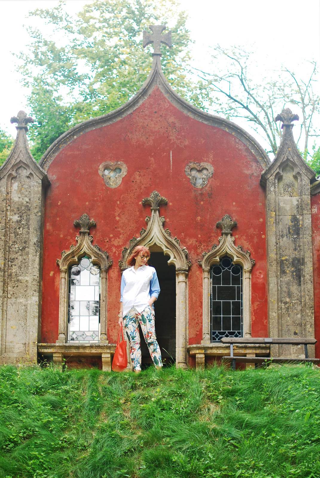 Summer style: Two-tone button up shirt, tropical print pants, orange tote, embellished sneakers (Painswick Rococo Garden, the Cotswolds) | Not Dressed As Lamb, over 40 style