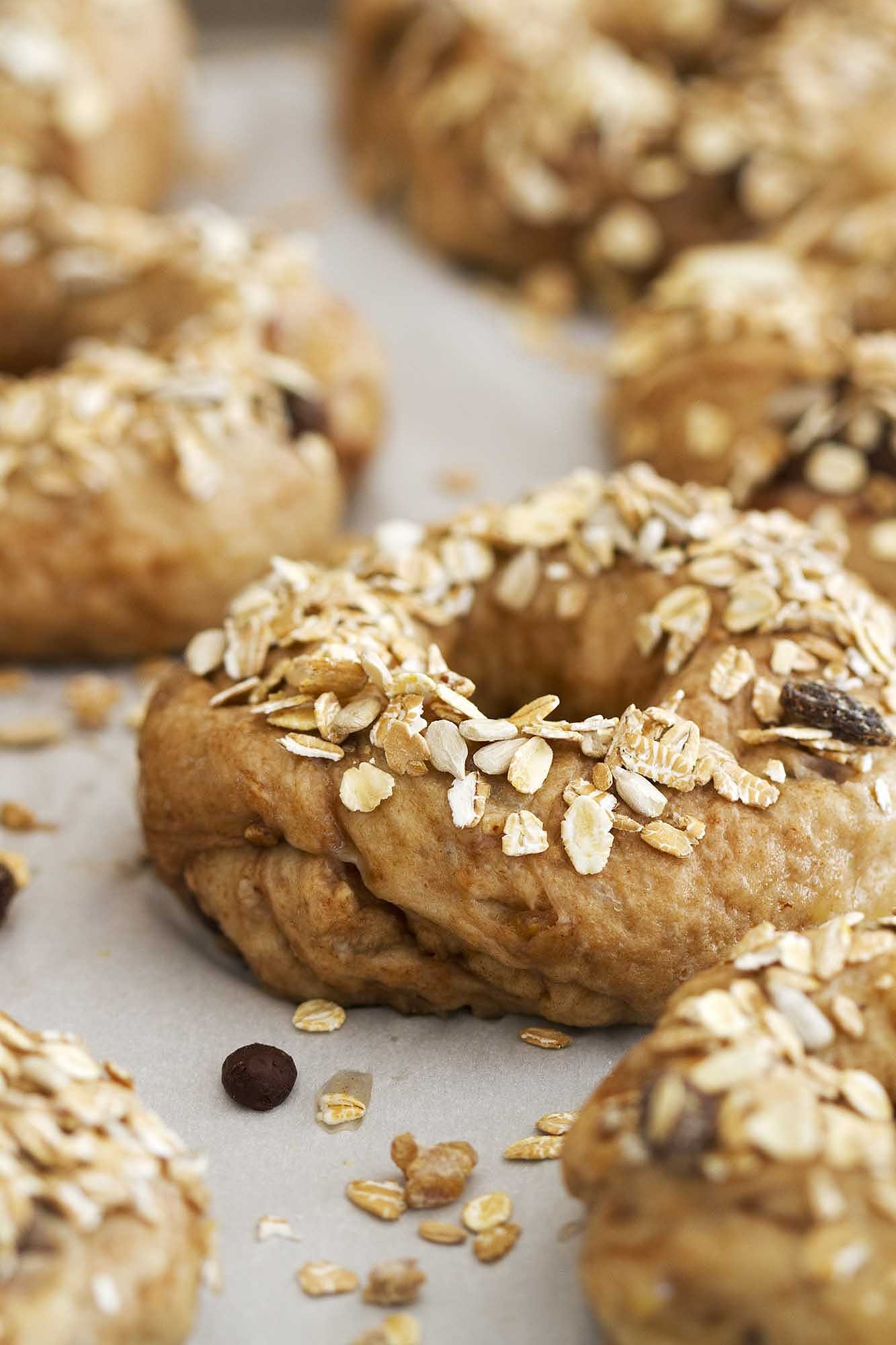 Chocolate Chip Muesli Bagels | girlversusdough.com @girlversusdough