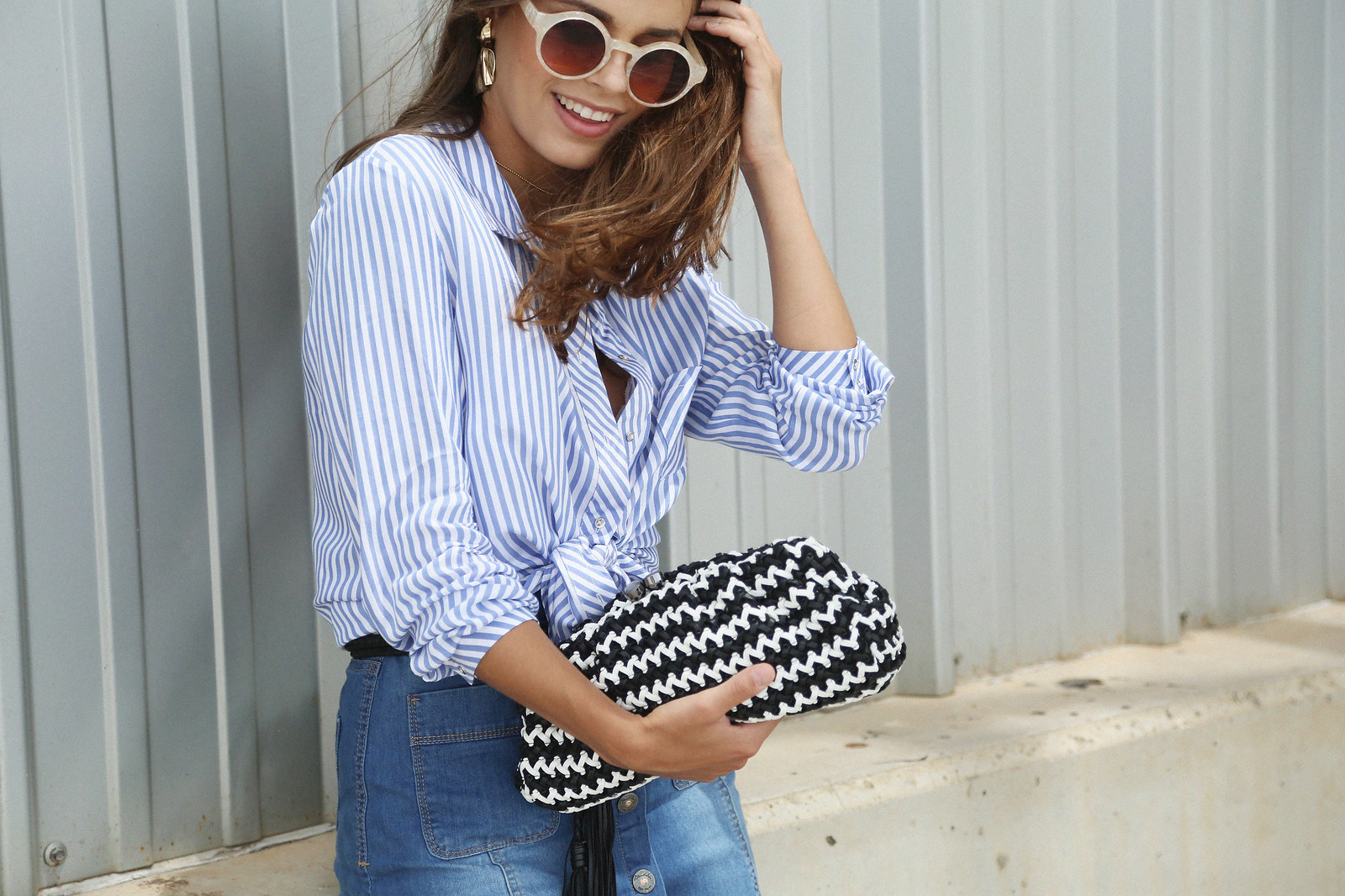 jessie chanes seams for a desire denim skirt stripes shirt-2