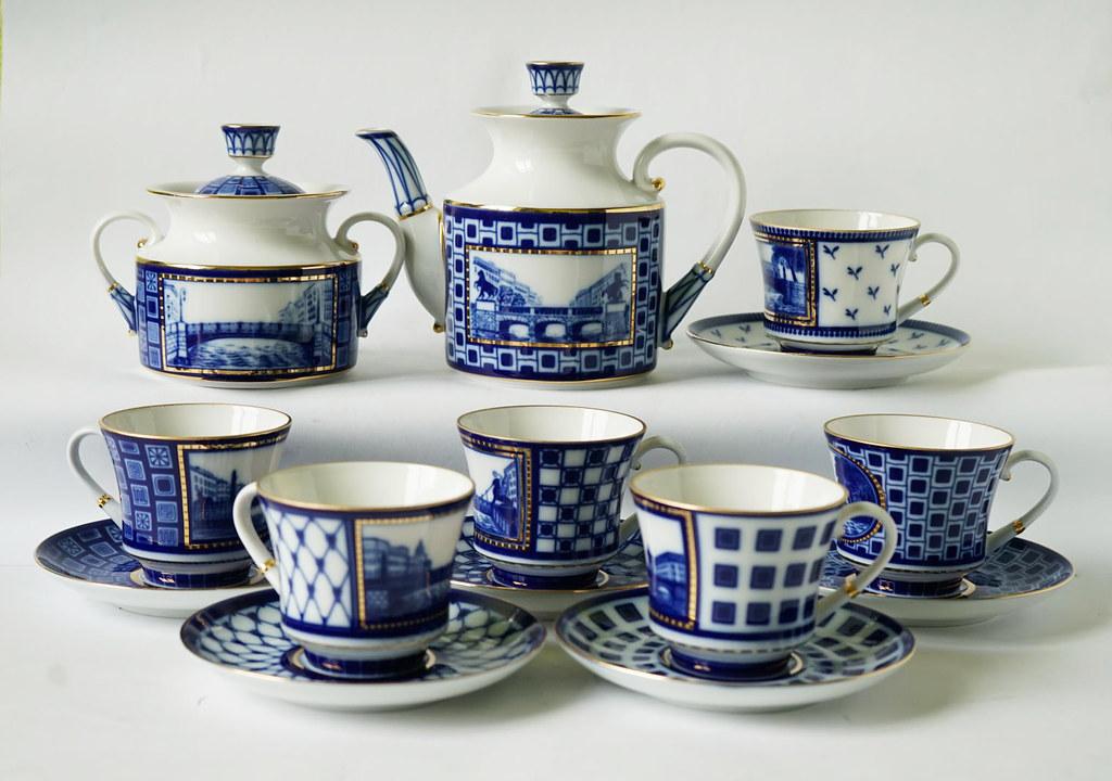 St.Pēterburgas porcelāna manufaktūras tējas servīze ar kobalta gleznojumu, 05.04.2013.