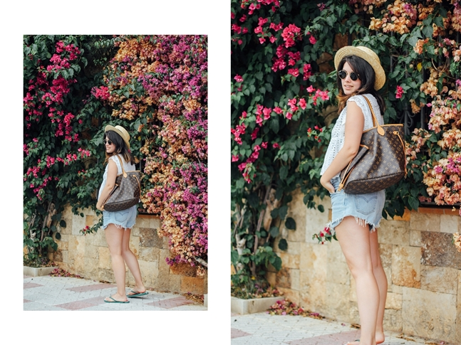 look de playa levis shorts avelinas vintage pawpaw flops bouganville streetstyle