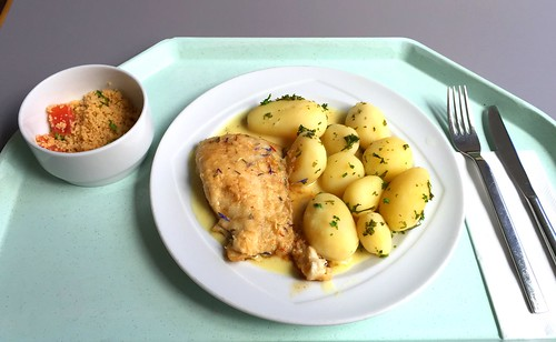 Coalfish in mustard sauce with parsley potatoes / Seelachs in Senfsauce mit Petersilienkartoffeln