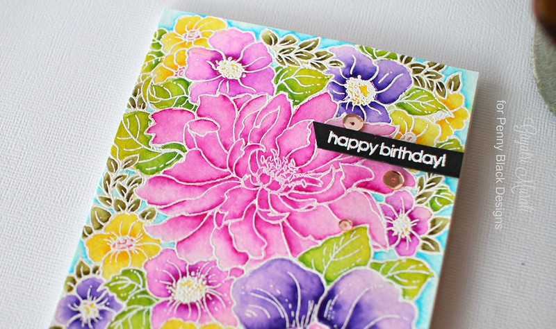 Pretty floral card closeup
