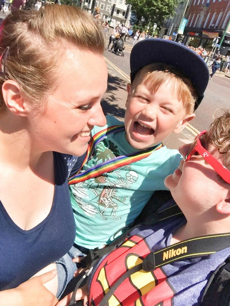 Brighton pride family cuddles