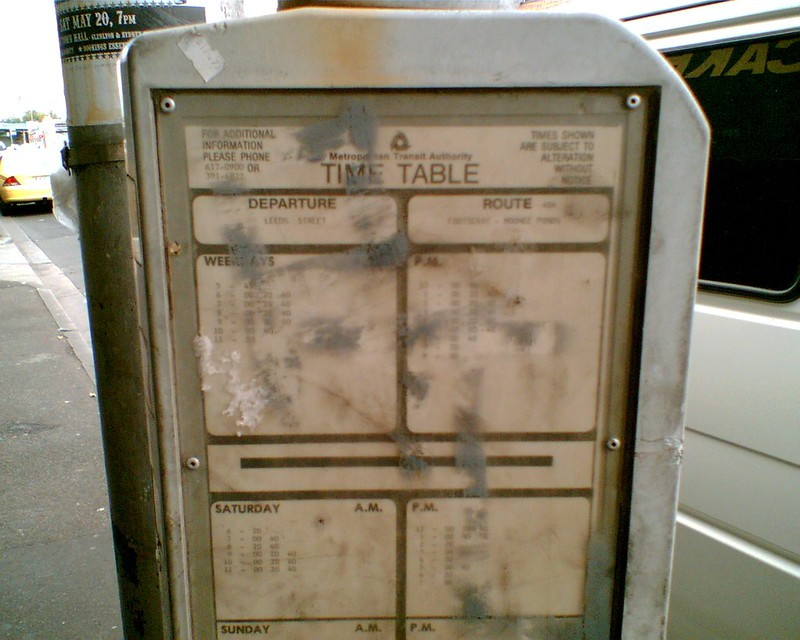 404 Bus timetable, Footscray, September 2006