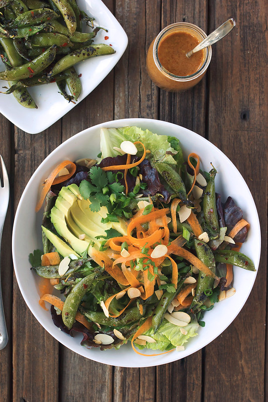 Charred Snap Pea Salad with Creamy Almond Butter & Ginger Dressing