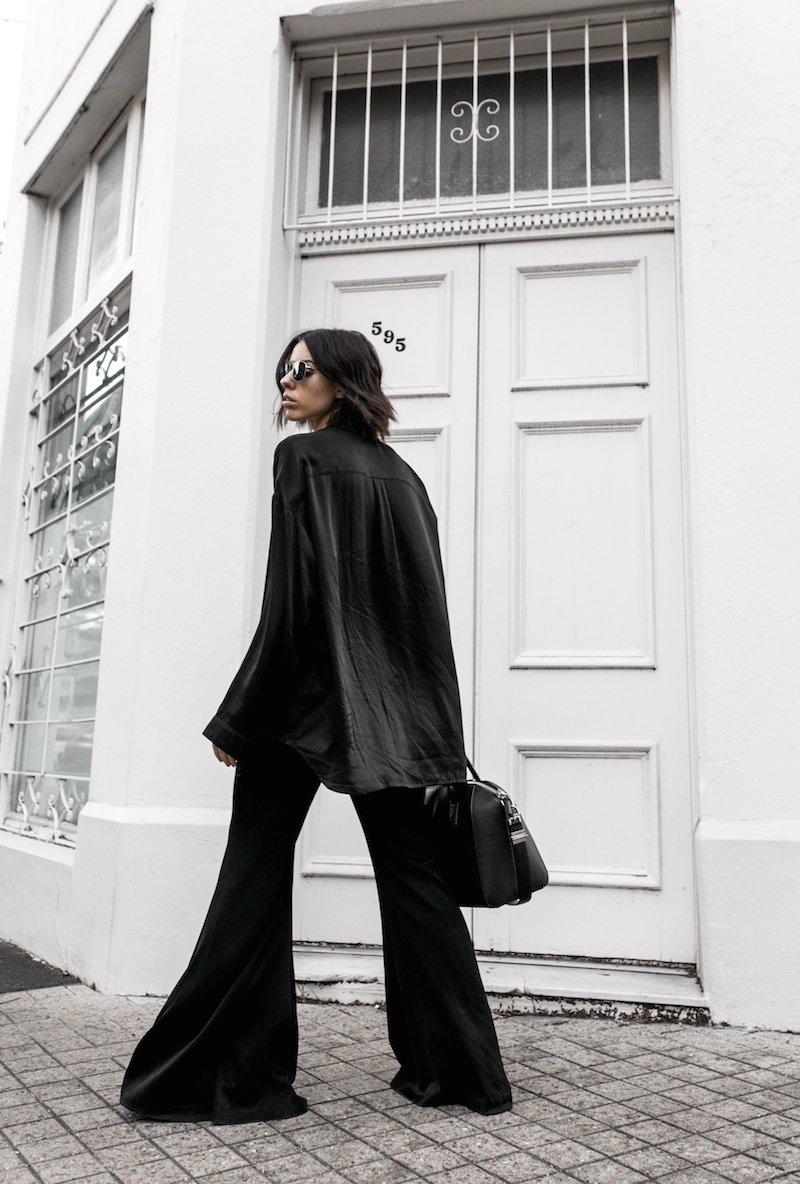 pyjama trend silk separates Ellery flares Haider Ackermann Givenchy Antigona Medium minimal all black ootd street style inspo fashion blogger modern legacy (4 of 8)