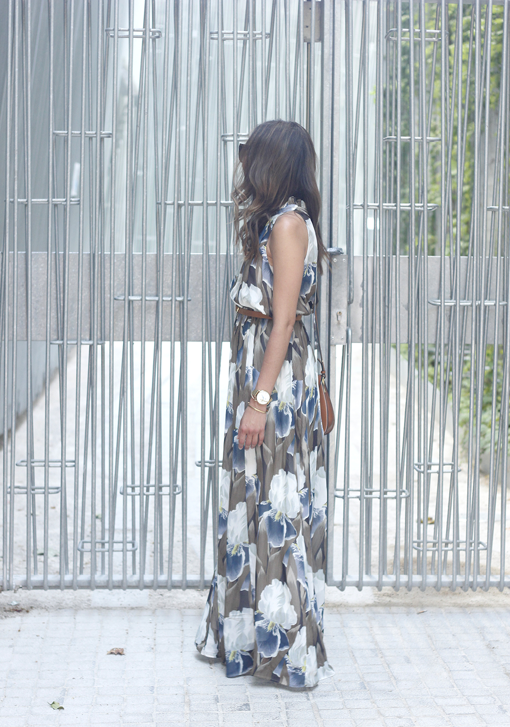 Maxi Dress With Floral Pattern heels summer outfit style14
