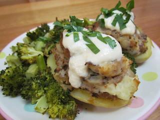 Tempeh Stroganoff-Stuffed Potatoes