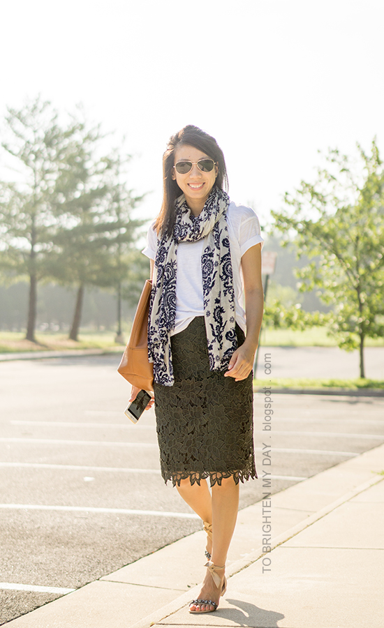 blue floral scarf, white tee, olive green lace pencil skirt, cognac brown tote, jeweled ankle-tie sandals