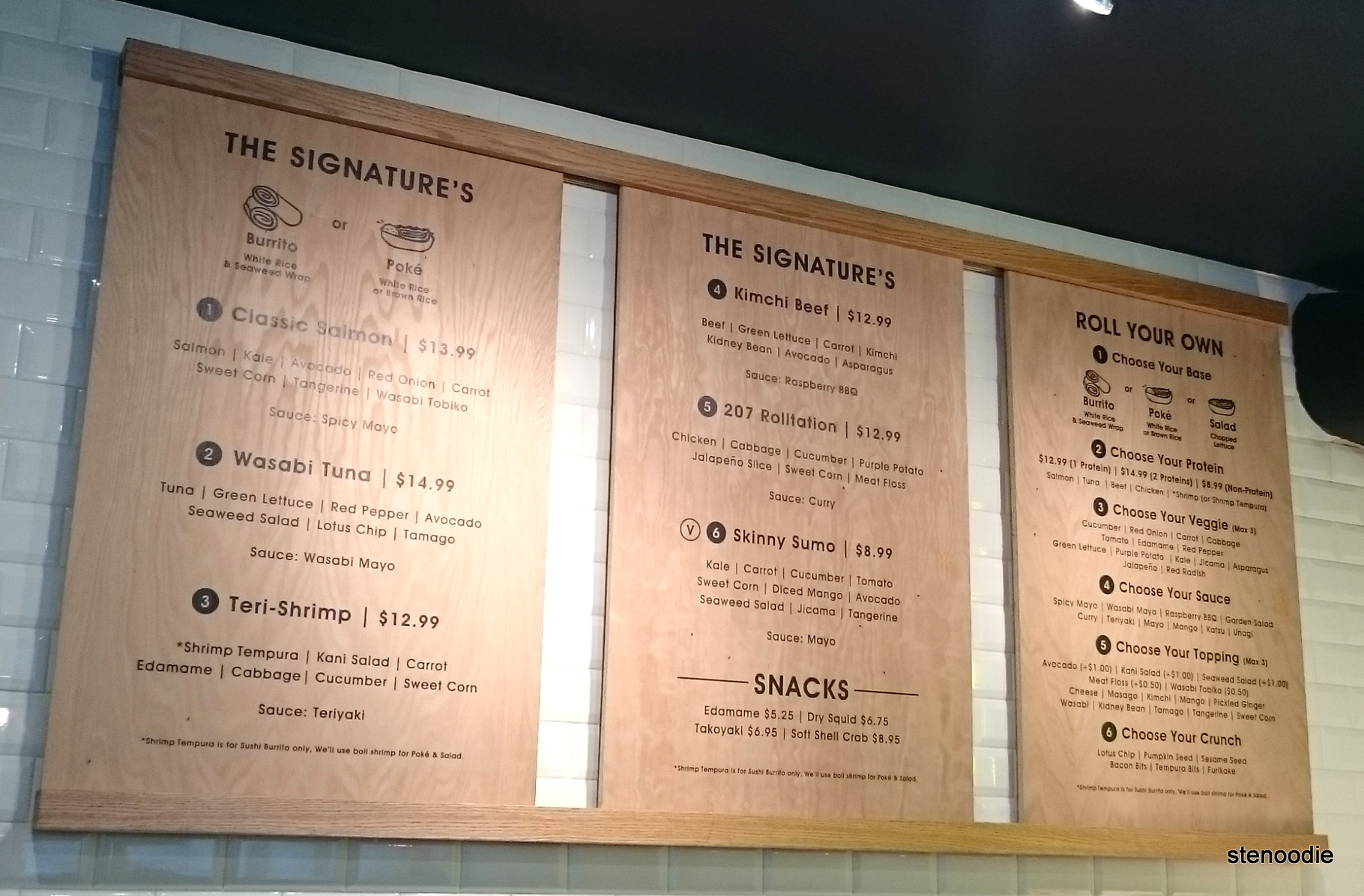 Rolltation menu and prices