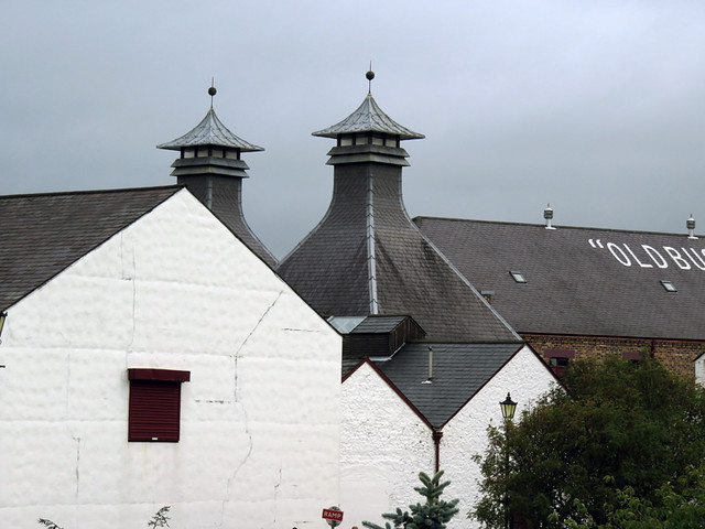 Pagodas on the buildings at the Bushmills Distillery in Ireland, UK
