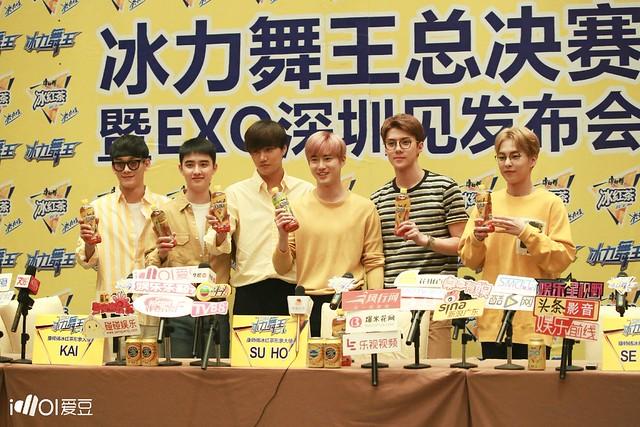 160824 Suho, Kai, Sehun, Xiumin, D.O and Chen at Kangshifu Fanmeet