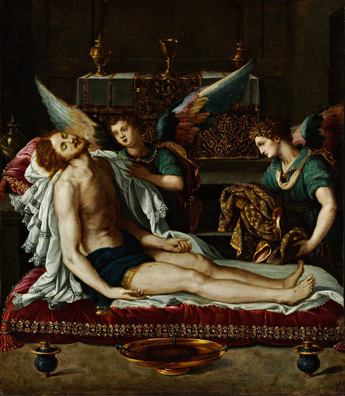 Alessandro Allori - The Body of Christ Anointed by Two Angels (c.1593)