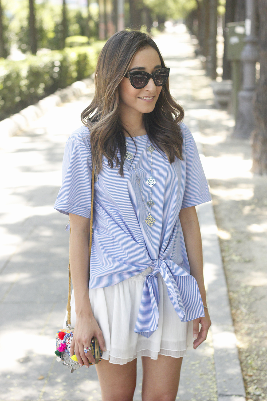 Knotted striped shirt white skirt brosway jewels summer outfit carolina herrera heelsfashion style15