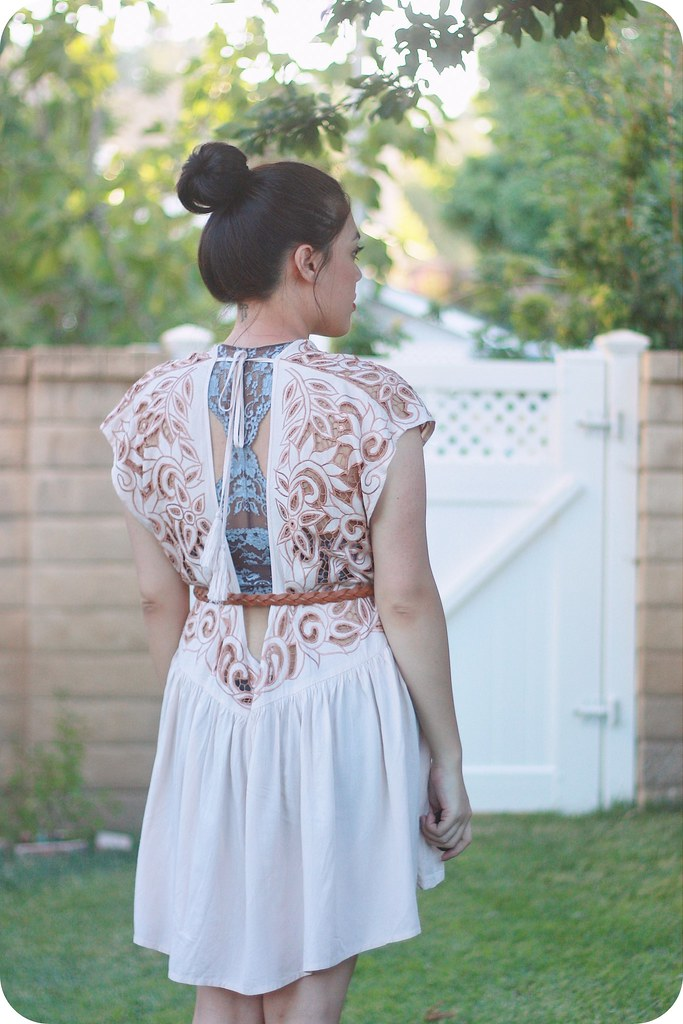Sweets and Hearts style outfit featuring Free People lace dress and bralette, Larimar Bliss ring