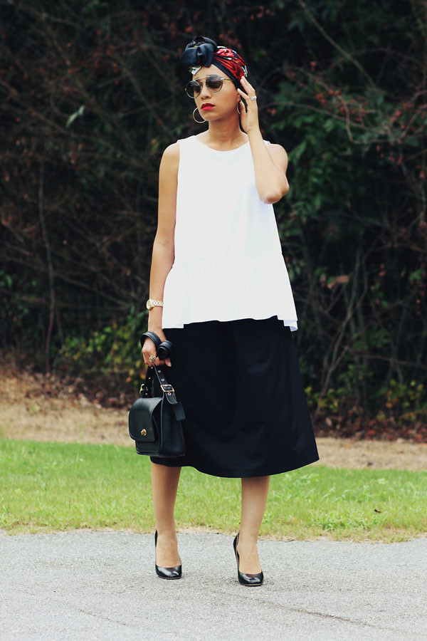 peplum top and midi skirt
