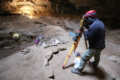 Garrett Gay, total station, Natural Trap Cave, Bighorn Canyon National Recreation Area, Big Horn County, Wyoming