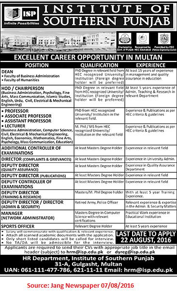 Institute of Southern Punjab Jobs