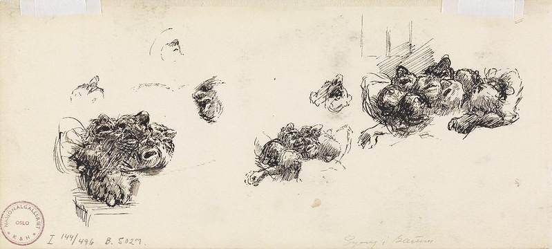 Skisser av trollhoder (verso)