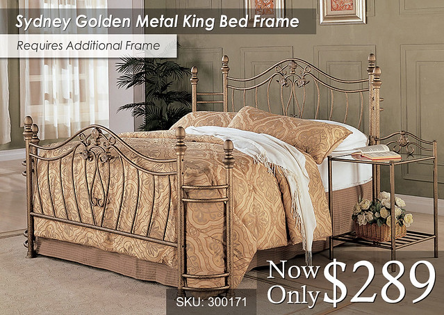 Sydney Golden Metal King Bed Frame