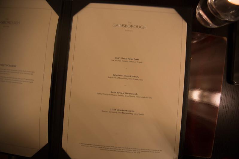 Set dinner menu.
