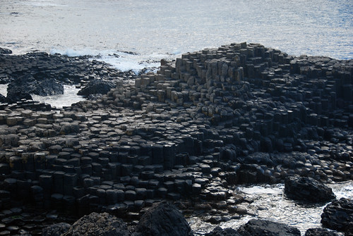 The striking hexagonal basalt rock formations of Giant's Causeway in Northern Ireland, UK