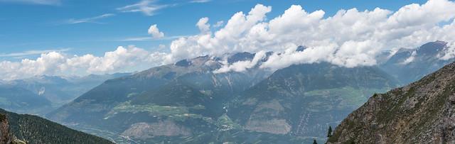Vinschgau-Panorama an der Göflaner Scharte