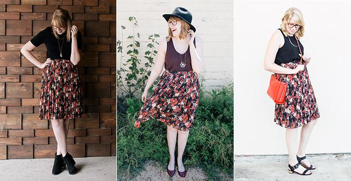 black floral forever 21 midi skirt